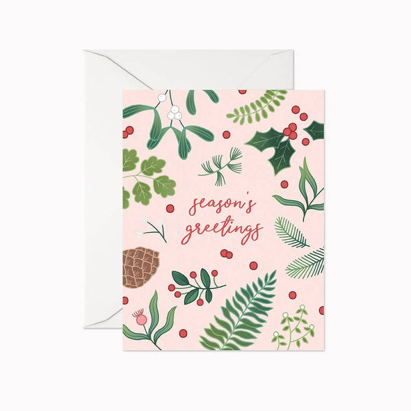 Season's Greetings Pink Greenery Card