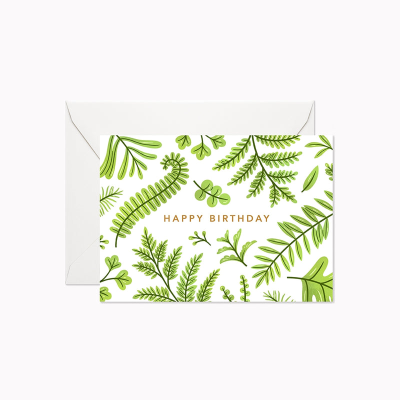 Woodland Ferns Happy Birthday Mini Card