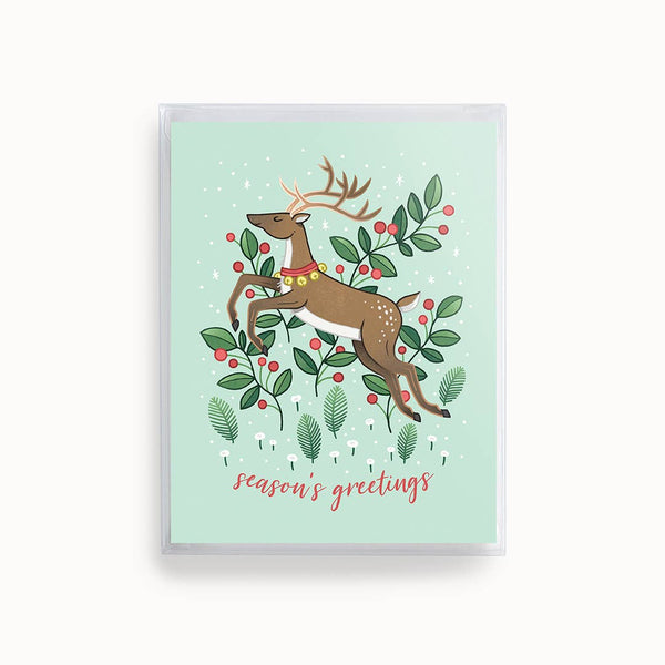Boxed Set of 8 Seasons Greetings Reindeer Cards