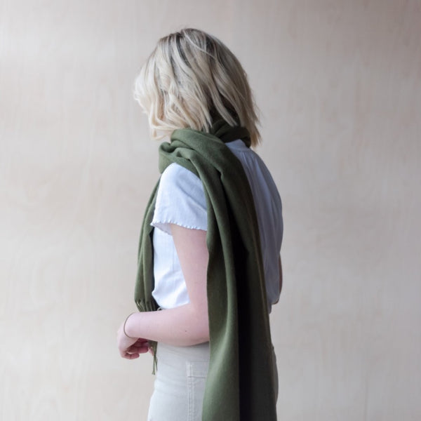 Lambswool Oversized Scarf | Olive