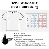 OWS classic adult tee size chart