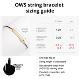 Adjustable string bracelet - OWS size chart