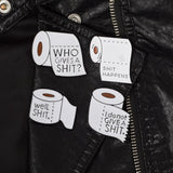 TP Toilet Roll Series pins on jacket