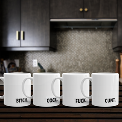 SEt of 4 Profanity mugs, funny mug set