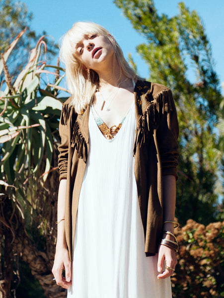 Lisp the Label Bohemian jacket. Fringed suede jacket. Suede tassel jacket with embroidery. Shop Lisp tassel jacket online. South African online shop. brown fringe jacket