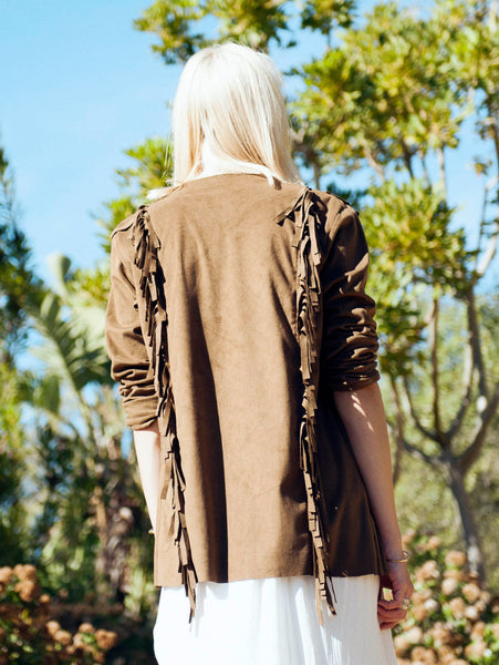 Lisp the Label bohemian tassel jacket. Suede fringe jacket with embroidery. Shop Lisp tassel jacket online. South Africa. Lisp online boutique