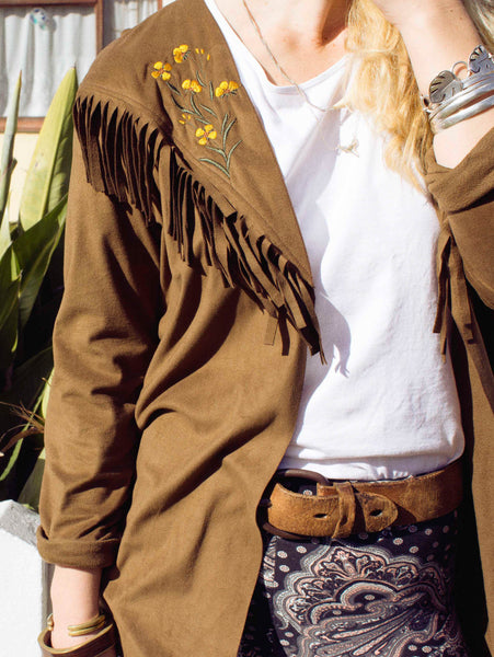 Lisp the Label tassel jacket. Suede tassel jacket embroidery. Shop Lisp online. South African online boutique
