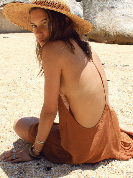 Lisp the Label rust Chloe summer dress. cotton dress with a open back.