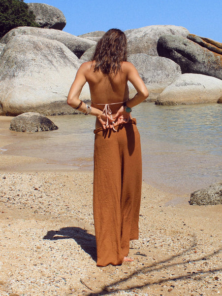 Lisp the Label cotton palazzo pants. Shop Lisp rust palazzo online, South African online shop