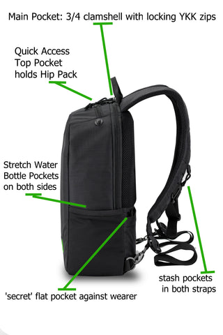 Day Pack with pockets labeled