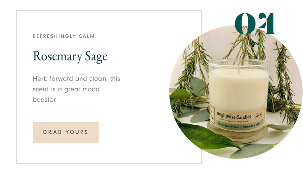 Brightwise Candles Rosemary Sage Scented Soy Wax Candle