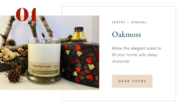 Brightwise Candles Oakmoss Scented Soy Wax Candles