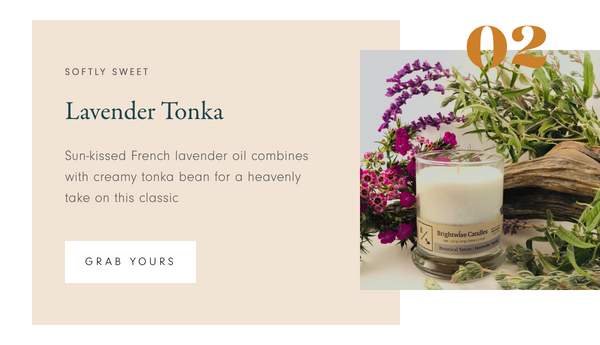 Brightwise Candles Lavender Tonka Scented Soy Wax Candle