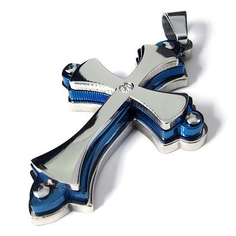Stainless Blue Steel and Chrome Cross Riveted 3 Layer Pendant - LYC