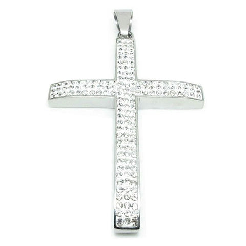 Stainless Steel Cross Pendant Silver with 153 CZ Solitaire Stones