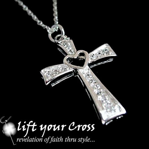925 Sterling Silver Latin Cross Heart CZ Crystals Ladies Necklace - LYC