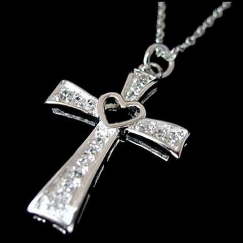 925 sterling silver Latin Cross Heart Zircon Necklace