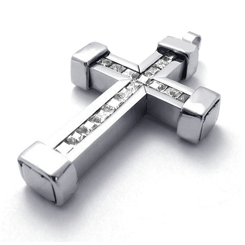 Bold Stainless Steel Cross Pendant Silver with CZ Solitaire Stones
