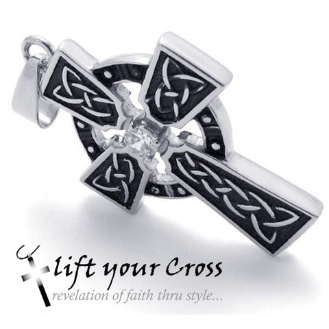 Christian Cross Men's Stainless Steel Celtic Look Necklace - Silver