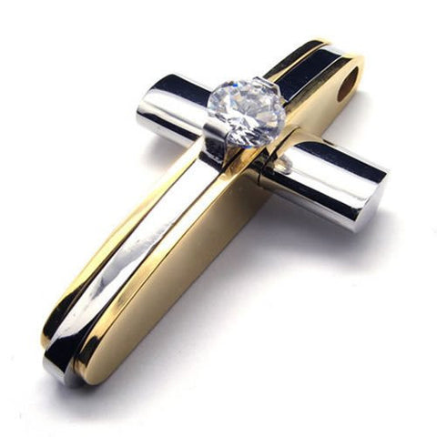 Christian Necklace mens chrome n gold cross cz stone