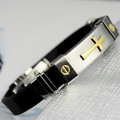 Fashion Men's Stainless Steel Cross ID Bracelet Silicone Bracelet Gold