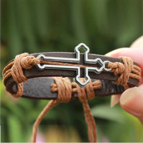 Fashion cross leather bracelets