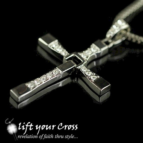 Titanium Steel Swivel Cross Pendant Necklace with CZ Crystals - LYC