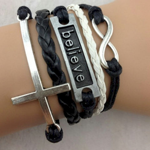 Friendship Bracelet Believe Infinity Cross wrap - Christian Cross Wear