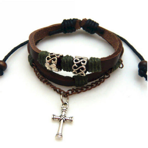 Leather Wrap Charm Bracelet Bangle with Cross Pendant