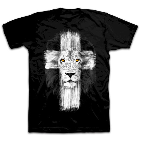 Christian Men's T-shirt - Lion Cross - Lift Your Cross