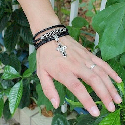 Mens Black Leather Cross Wrap bracelet Retro Snakeskin Look - LYC