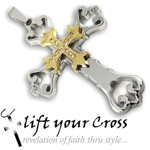 Stainless Steel Cross Double Pendant Triple Gold Color Hollow out Necklace