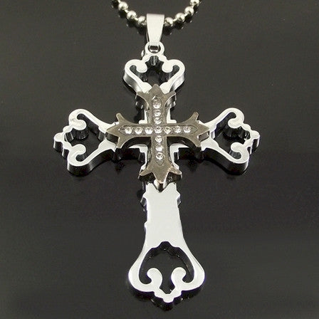 Stainless Steel Cross double Pendant two-tone silver color hollow out Necklace