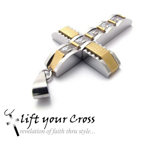 Stainless Steel Crystal Gentility Silver and Gold Cross Mens Pendant Necklace