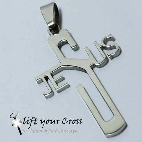 "Stainless Steel Jesus Cross Pendants, Metal Polished ""JESUS"" letter, Christian Pendant"