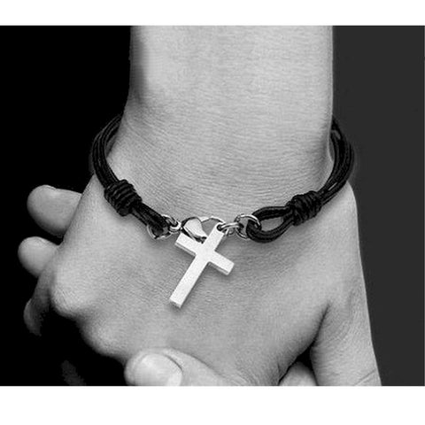 Titanium steel Cross bangle bracelet
