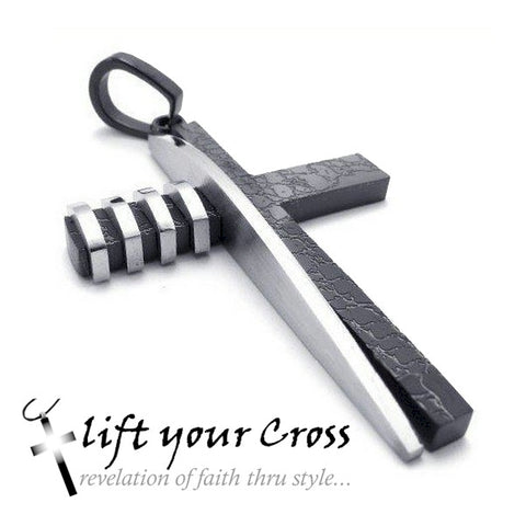 Stainless Steel Cross Men's Pendants Necklace - Silver and Black - LYC 231