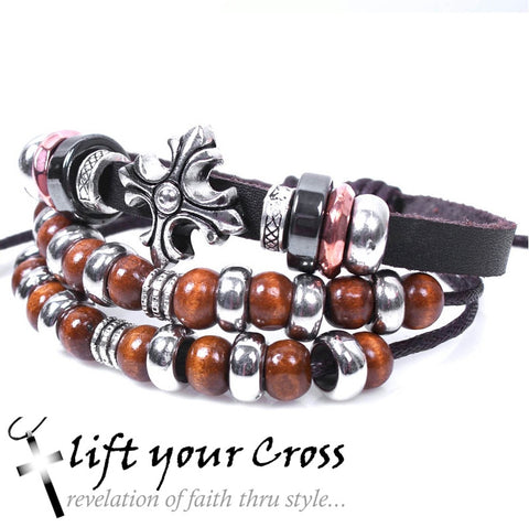 Bohemia Vintage Leather Beaded Handmade Cross Bracelet