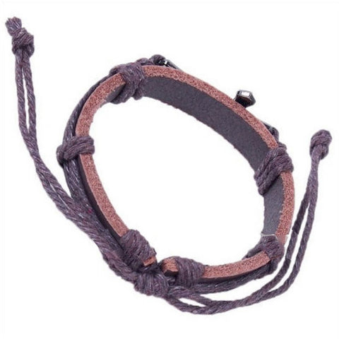 Handmade Braid Genuine Leather Wrap Charm Cross Bracelet Bangle - LYC