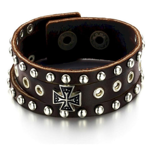 Men's Leather Roman Rivet Cross Bracelet