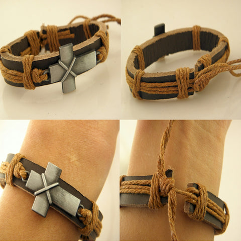 Young mens Christian bracelet with leather band and Cross