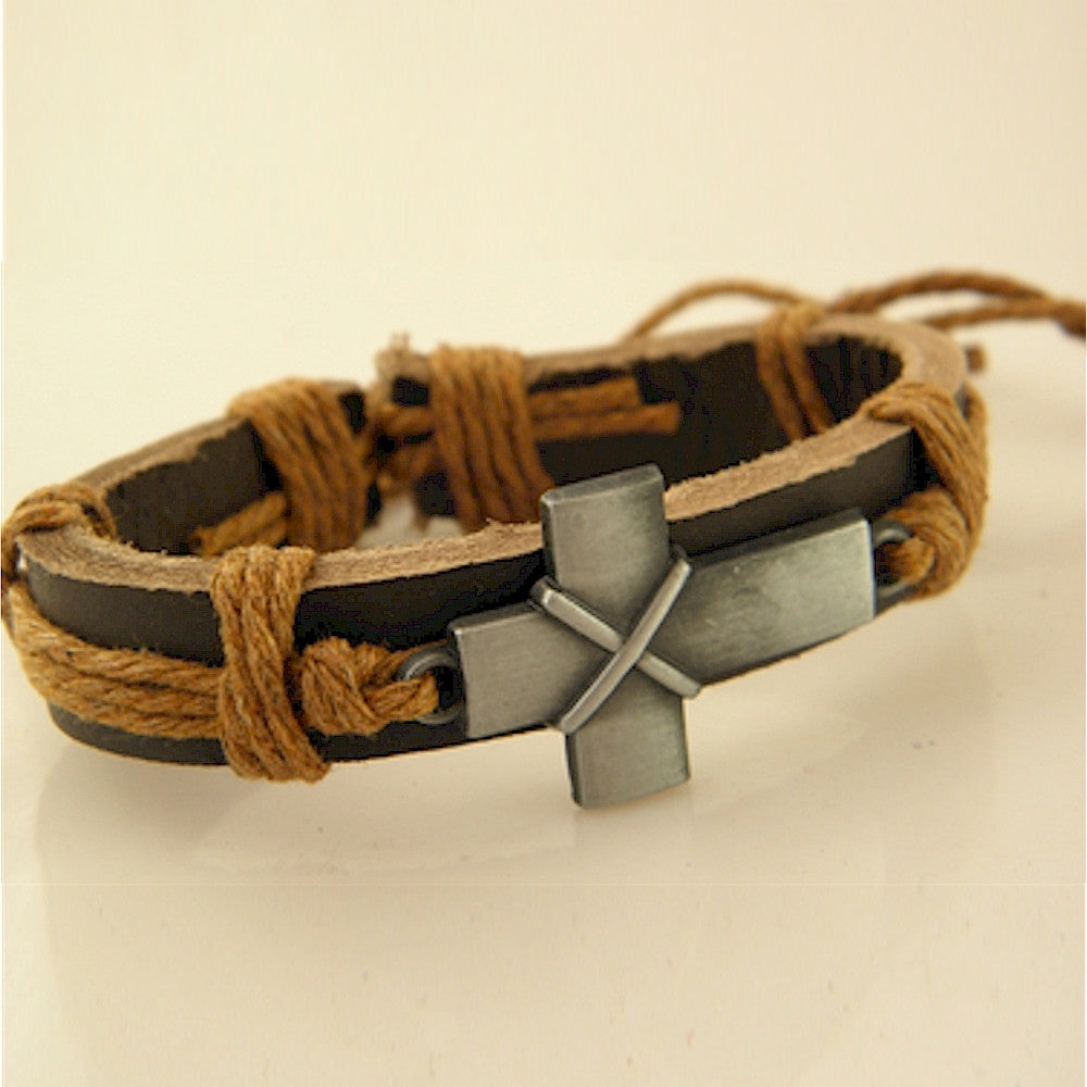 b723f70b5c2e6 Young mens Christian bracelet with leather band and Cross