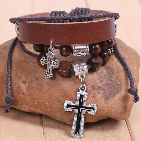 Vintage Leather Wrap Charm Bracelet Bangle with Cross Pendant