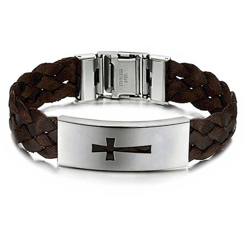 Stainless Titanium Steel Cross Woven Belt Mens Leisure Bracelet - LYC