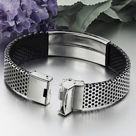 Stainless Steel Mesh Christian Cross Bracelet with PU Leather - LYC