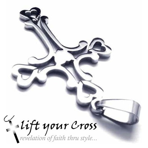 Christian Fashion Titanium 316L Stainless Steel Cross Hearts Pendant Necklace