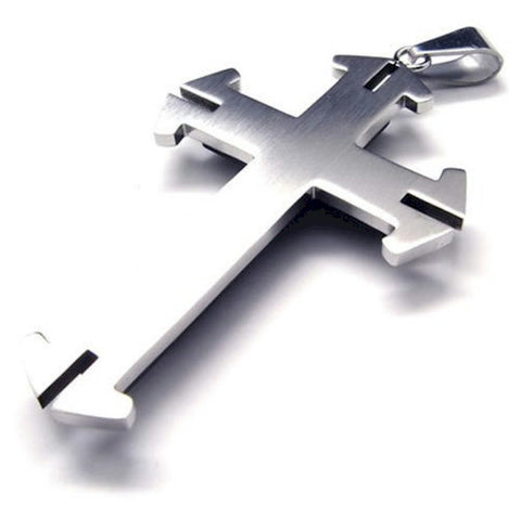 Christian necklace men's stainless steel cross pendant 3 layered Switch-Look