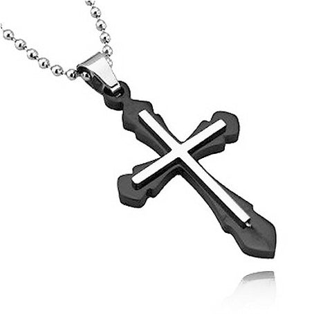 Men's Silver & Black Stainless Steel Cross Chain Pendant Necklace
