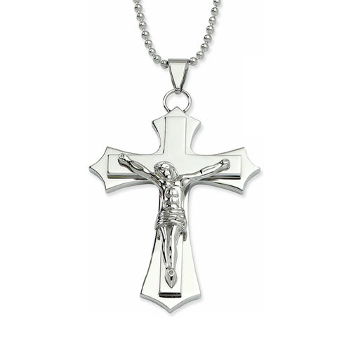 Christian necklace men's chrome cross crucifix Jesus