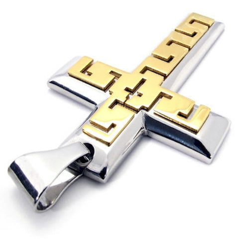 Christian Contemporary Stainless Steel Cross Men's Aztec Look Necklace - Silver and Gold